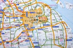 Changhaï sur la carte Image libre de droits