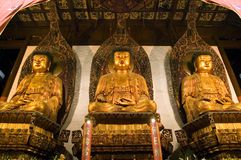 Changhaï - temple de Bouddha de jade d'intérieur Photographie stock