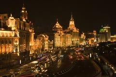 Changhaï la digue la nuit Images libres de droits
