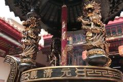 Changhua, Taiwán - 20 de marzo de 2015: Hornilla de incienso del dragón en Yuan Ching Kuan en blanco y negro Imagenes de archivo