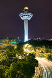 Changi Airport Control Tower. This image, Singapore Changi Airport Control Tower At Night, has an AdobeRGB(1998) color profile.  The colors in the Dreamstime Royalty Free Stock Photos