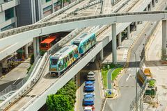 The Changi Airport Skytrain at Singapore Changi Airport, Singapore. Opened in 1990, it was the first auto-guided system in Asia. CHANGI, SINGAPORE – MARCH 16 Stock Image