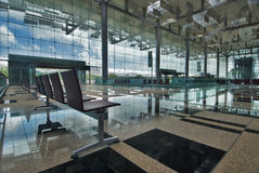 Changi Airport terminal 3. The newly open Changi Airport Terminal 3's grand interior of glass and reflective surfaces Royalty Free Stock Photo
