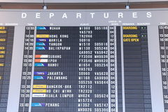Changi Airport timetable Singapore Royalty Free Stock Image