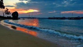 Changi beach. Changi dusk the sunset by the sea Stock Photo