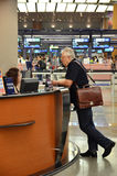 Changi Internationale Luchthaven in Singapore Stock Afbeelding