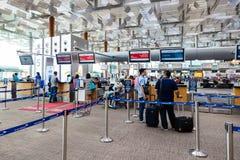 Changi Lotniskowego Terminal 3 odjazd Hall Obrazy Stock