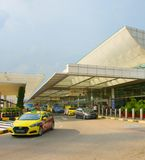 Changi Luchthaven eindtaxi, Singapore stock foto's