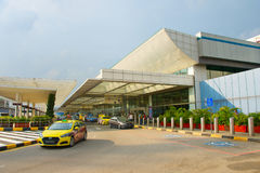 Changi Luchthaven eindtaxi, Singapore stock afbeelding