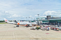 Changi Luchthaven in Singapore, Zuidoost-Azië Stock Foto