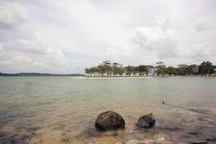 Changi Point Beach with Ubin Island View. Changi Point Beach with Pulau Ubin Island View in Singapore Royalty Free Stock Photo