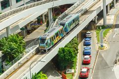 The Changi Airport Skytrain at Singapore Changi Airport, Singapore. Opened in 1990, it was the first auto-guided system in Asia. CHANGI, SINGAPORE – MARCH 16 Stock Photos