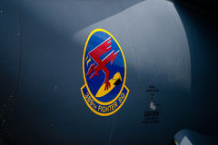 Changi, Singapore - Feb 6,2010 : Logo of 389th FIGHTER SQUADRON on F-15E Royalty Free Stock Images