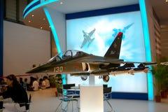 Changi, Singapur - febrero 6,2010: Modelo del avión de combate de Rusia Imagen de archivo