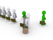 Changing appearance on businessmen. 3d person is painting business people standing in a row Stock Image
