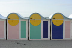 Changing booths rooms at beach in Dunkirk, Normany, Fran. Scene from the coastal town of Dunquerque on the north of Royalty Free Stock Image