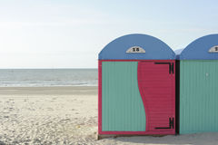 Changing booths storage rooms at beach in Dunkirk, Normandy, France. Changing booths storage rooms at beach in Dunkirk, Normandy Royalty Free Stock Images
