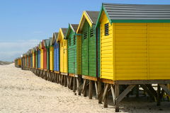 Changing cabins on beach front Royalty Free Stock Photography