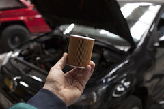 Changing the car oil filter Stock Photo