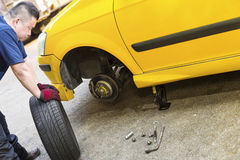 Changing Car Tire Stock Photo