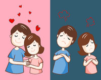 Changing couple relationship cartoon  illustration. Lover hate and love each other  illustration Royalty Free Stock Photos