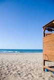 Changing cubicle on beach Royalty Free Stock Images