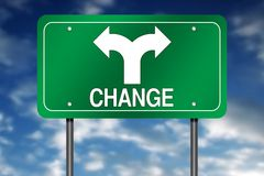 Changing direction sign Stock Photo