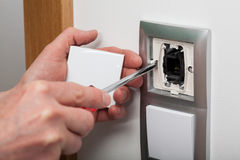 Changing electric socket Royalty Free Stock Photography