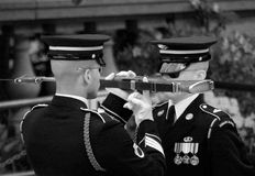 Changing of the Guard. A black and white photo of the changing of the Guard at the Tomb of Unknown Soldiers in Arlington National Cemetery Royalty Free Stock Photography