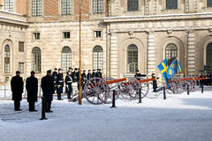 Changing of the Guard. STOCKHOLM 05-12-2010: Changing of the Guard - a daily event from the Swedish Royal Palace, from 05-12-2010r in Stockholm, Sweden Royalty Free Stock Photography