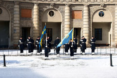 Changing of the Guard. STOCKHOLM 05-12-2010: Changing of the Guard - a daily event from the Swedish Royal Palace, from 05-12-2010r in Stockholm, Sweden Stock Image
