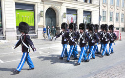 Changing of the guard. Near to the royal palace. Copenhagen, Denmark stock photos