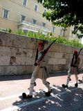 Changing of the guard in Athens. To the Parliament Palast. Nice costume. Tradition in Greece Stock Photography