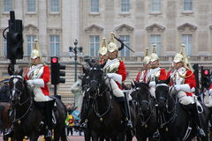 Changing of the guard at Buckingham Palace. The tradition of the changing of the guard continues to be a spectacle for all to enjoy Stock Photo