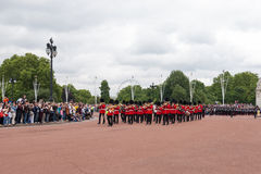 Changing the Guard Ceremony in London. London, England - July 18, 2008 : Marching Band heads towards Buckingham Palace during Changing the Guard Ceremony in stock photography
