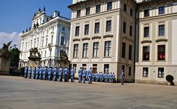 Changing the Guard Ceremony at Prague Castle Stock Image