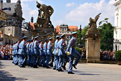 Changing the Guard Ceremony at Prague Castle Stock Photos