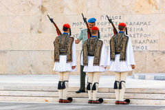 The Changing of the Guard ceremony takes place in front of the Greek Parliament Building Royalty Free Stock Photography