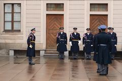 Changing of the guard of honor guards at the Presidential Palace in Prague Castle. Stock Image
