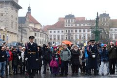 Changing of the guard of honor guards at the Presidential Palace in Prague Castle. Royalty Free Stock Photography