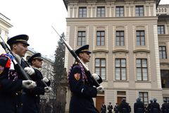 Changing of the guard of honor guards at the Presidential Palace in Prague Castle. Royalty Free Stock Photo
