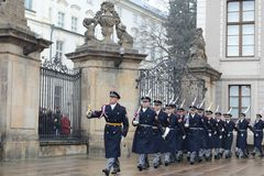 Changing of the guard of honor guards at the Presidential Palace in Prague Castle. Stock Images