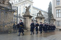 Changing of the guard of honor guards at the Presidential Palace in Prague Castle. Stock Photos