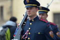 Changing of the guard of honor guards at the Presidential Palace in Prague Stock Image