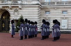 Changing of the guard. LONDON, UK - DECEMBER 18 2017: Changing of the guard at Buckingham Palace on December 18,2017 in London, UK Stock Photo