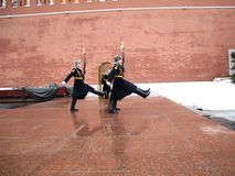 Changing of the guard at the memorial to the unknown soldier. Royalty Free Stock Photography