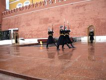 Changing of the guard at the memorial to the unknown soldier. Royalty Free Stock Photo