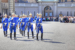Changing of the guard near the royal palace. Sweden. Stockholm Royalty Free Stock Photography
