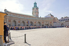 Changing of the guard near the royal palace. Sweden. Stockholm Royalty Free Stock Photos
