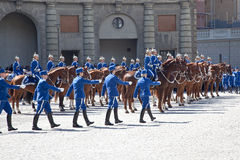 Changing of the guard near the royal palace. Sweden. Stockholm Stock Photography